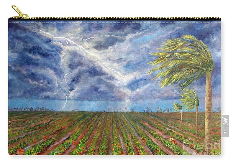 Palm Tree Carry-all Pouch featuring the painting Storm Over Homestead by Alina Martinez-beatriz