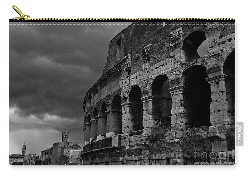 Stormy Colosseum Carry-all Pouch featuring the photograph Stormy Colosseum by James Lavott