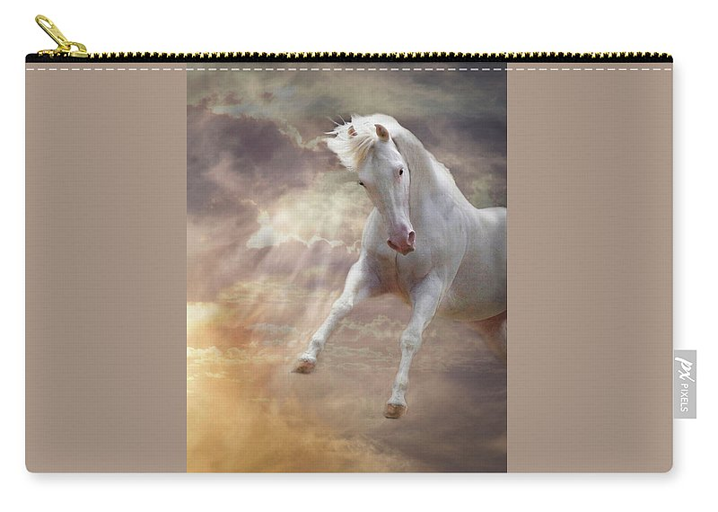 White Quarter Horse Carry-all Pouch featuring the photograph Stormy by Melinda Hughes-Berland