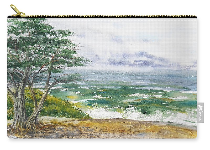 Seascape Carry-all Pouch featuring the painting Stormy Morning At Carmel By The Sea California by Irina Sztukowski