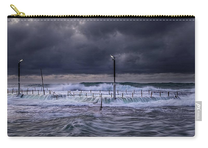 Panoramic Carry-all Pouch featuring the photograph Stormy Ocean, Monavale Beach, Australia by Bert