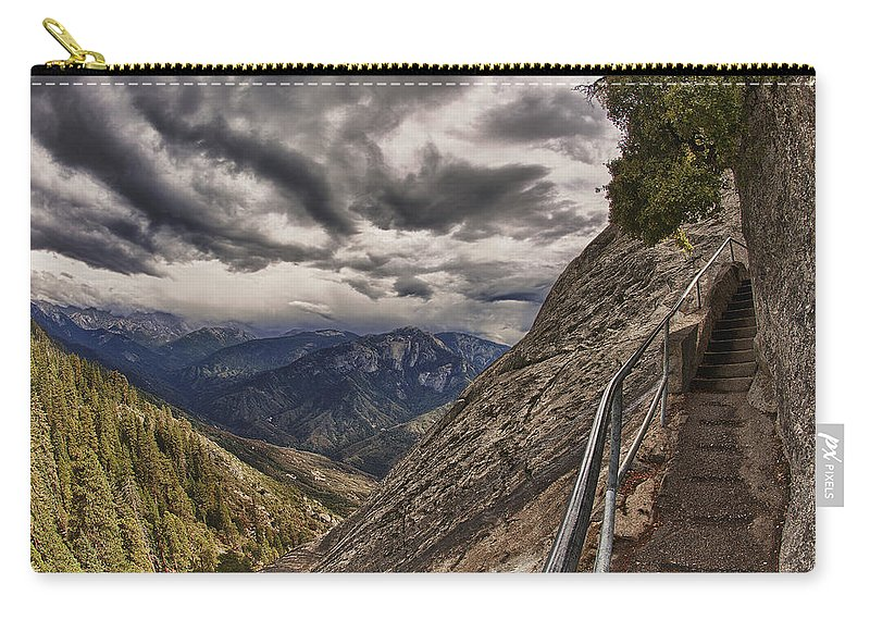 Moro Rock Carry-all Pouch featuring the photograph Stormy Skies On Moro Rock by Angela Stanton