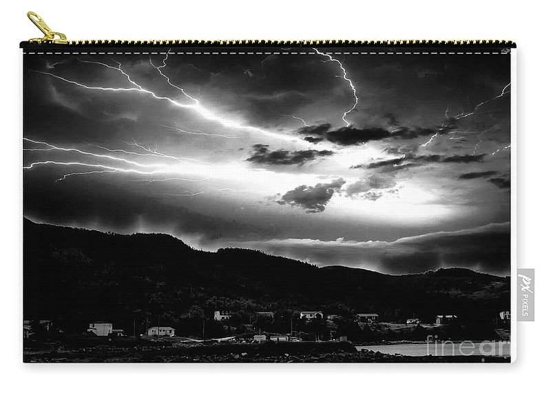 Stormy Sky Carry-all Pouch featuring the photograph Stormy Sky - Lightening - Small Town by Barbara Griffin