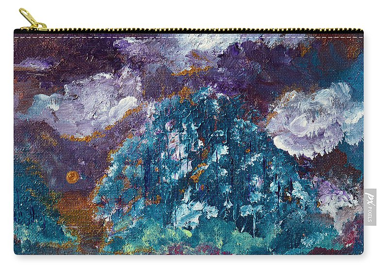 Sundown Carry-all Pouch featuring the painting Stormy Sundown by Donna Blackhall