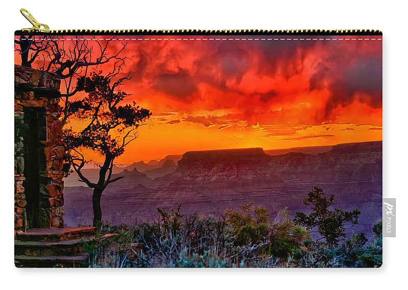 Greeting Card Carry-all Pouch featuring the photograph Stormy Sunset Greeting Card by Greg Norrell