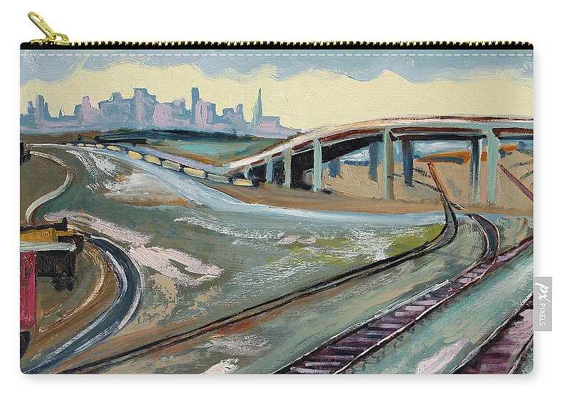 Landscape Painting Carry-all Pouch featuring the painting Stormy Train Tracks And San Francisco by Asha Carolyn Young