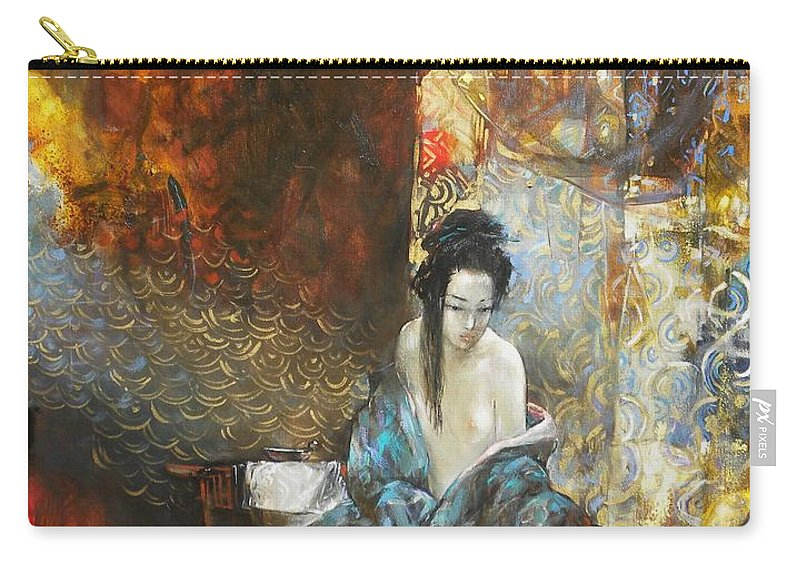 Figurative Female Composition Carry-all Pouch featuring the Story In The Chambers by Grigor Malinov