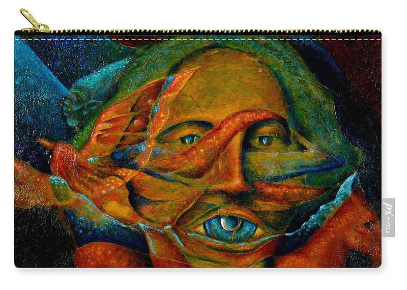 Native American Carry-all Pouch featuring the painting Storyteller by Kevin Chasing Wolf Hutchins