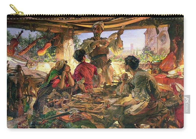 Antonio Carry-all Pouch featuring the painting Stradivarius In His Workshop by Edgar Bundy