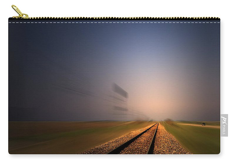 Train Carry-all Pouch featuring the photograph Straight As A Rail 02 by Thomas Woolworth