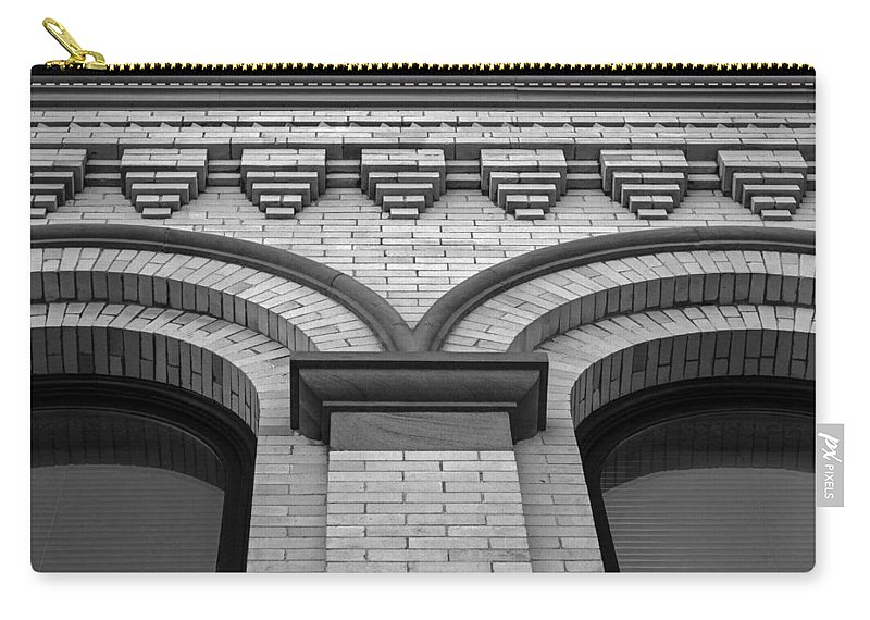 Architecture Carry-all Pouch featuring the photograph Straight Up Perspective - Black And White by Jordan Blackstone