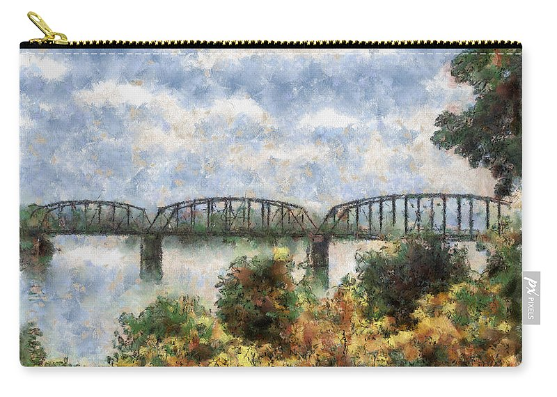 Strang Carry-all Pouch featuring the painting Strang Bridge by Jeffrey Kolker