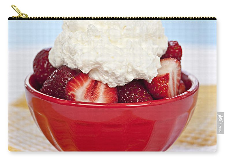 Strawberry Carry-all Pouch featuring the photograph Strawberries And Cream by Elena Elisseeva