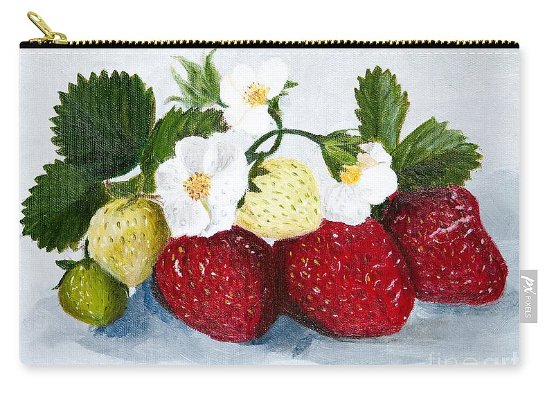 Strawberries Carry-all Pouch featuring the painting Strawberries With Blossoms by Iris Richardson