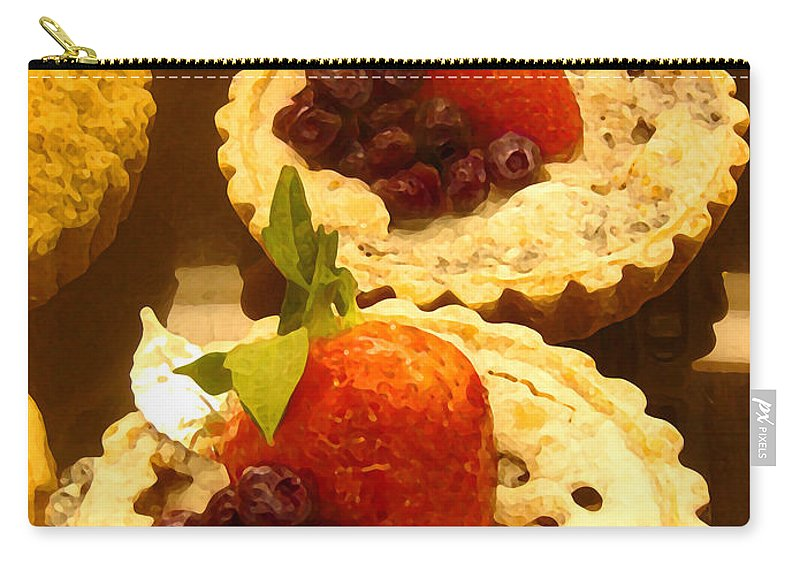 Food Carry-all Pouch featuring the painting Strawberry Blueberry Tarts by Amy Vangsgard