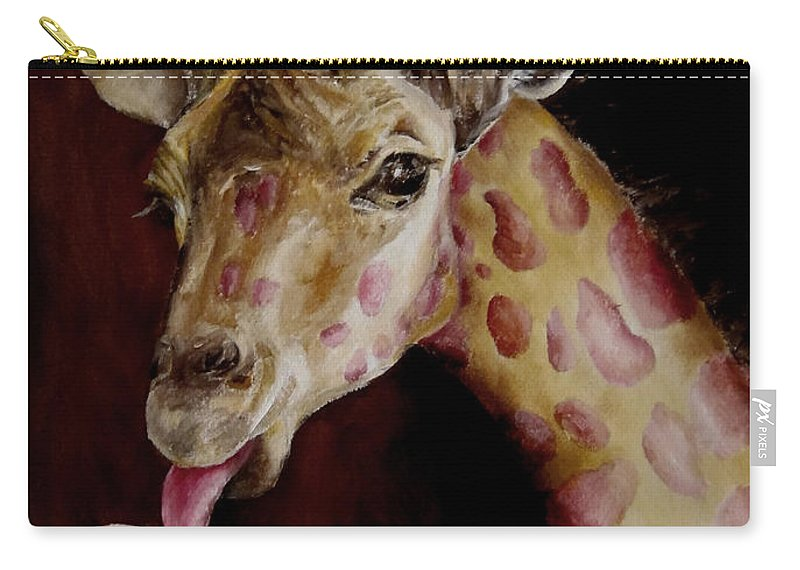 Animal Carry-all Pouch featuring the painting Strawberry Is My Favorite by Diane Kraudelt