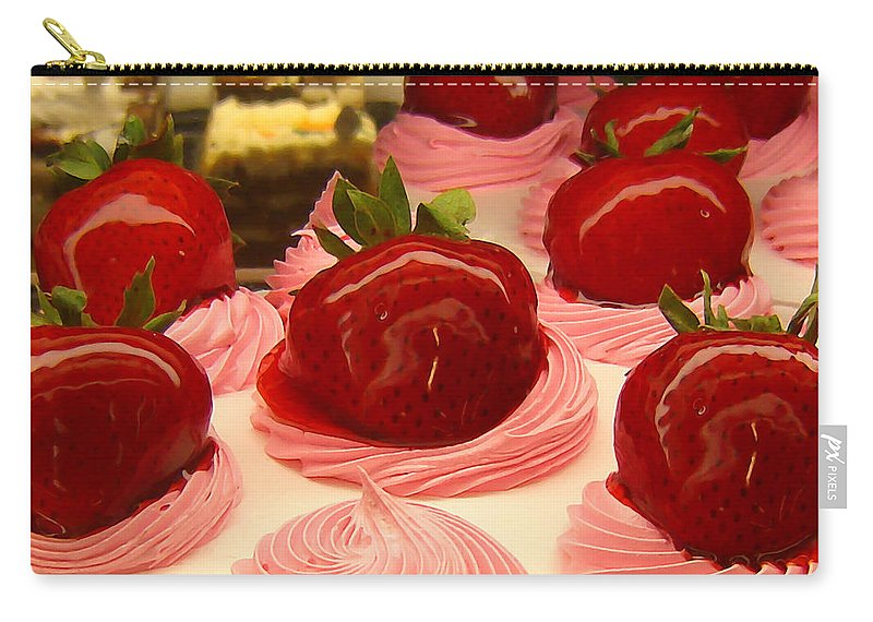 Food Carry-all Pouch featuring the painting Strawberry Mousse by Amy Vangsgard