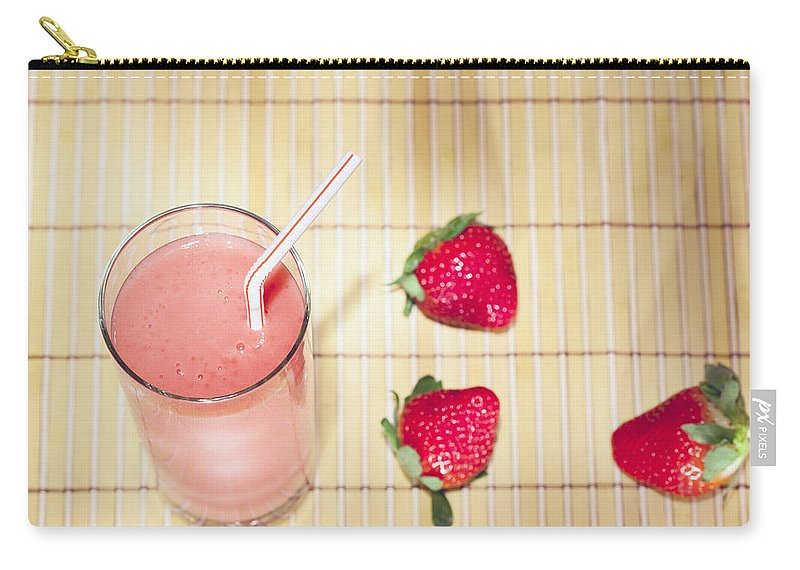 Strawberry Carry-all Pouch featuring the photograph Strawberry Smoothie by Alexey Stiop