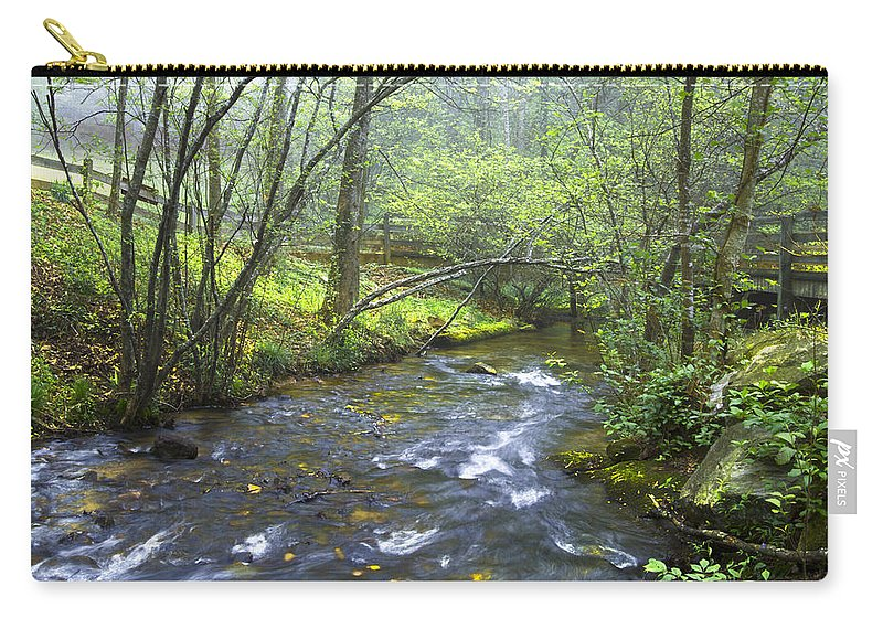 Appalachia Carry-all Pouch featuring the photograph Stream Below Amicalola Falls by Debra and Dave Vanderlaan