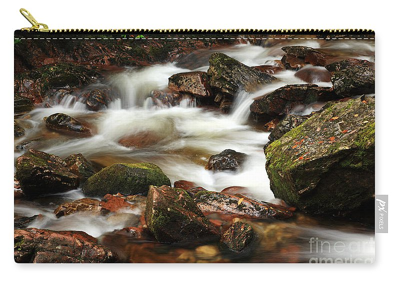 Green Carry-all Pouch featuring the photograph Stream Running Over Rocks by Deborah Benbrook