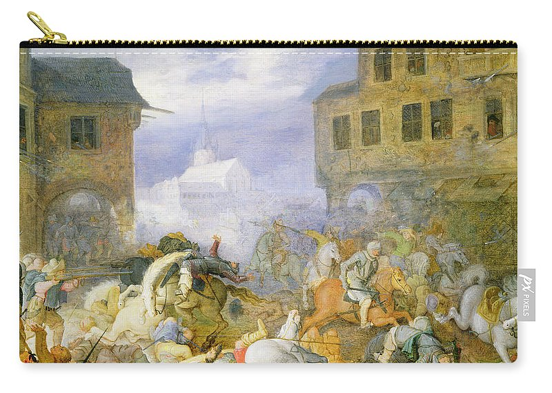 24 6x35 2 Cm Carry-all Pouch featuring the painting Street Battle In The Malostranske by Roelandt Jacobsz. Savery