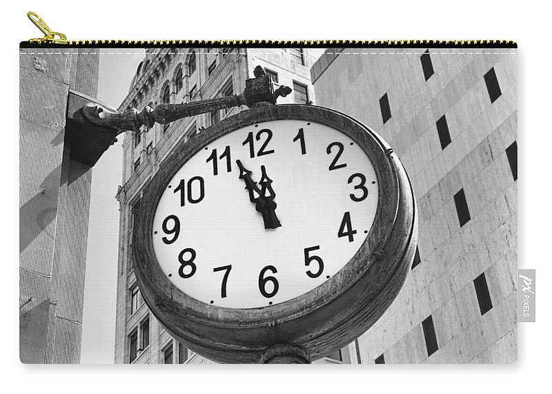 City Carry-all Pouch featuring the photograph Street Clock by Rudy Umans