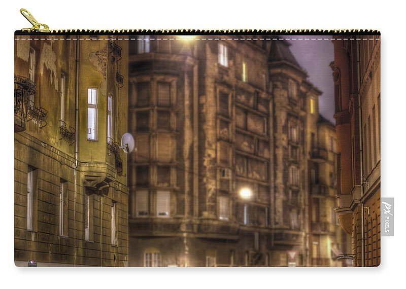 Street Carry-all Pouch featuring the digital art Street corner Budapest by Nathan Wright