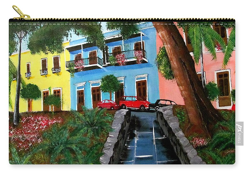 Old San Juan Carry-all Pouch featuring the painting Street Hill In Old San Juan by Luis F Rodriguez