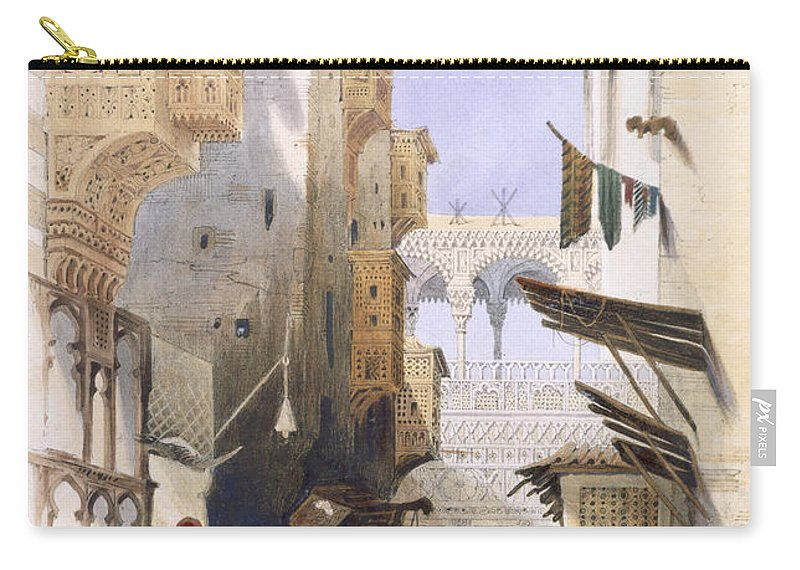 Alley Carry-all Pouch featuring the drawing Street Leading To El Azhar, Grand by A. Margaretta Burr