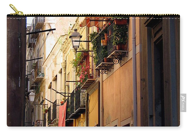 Italy Carry-all Pouch featuring the photograph Street Scene In Italy by Carla Parris