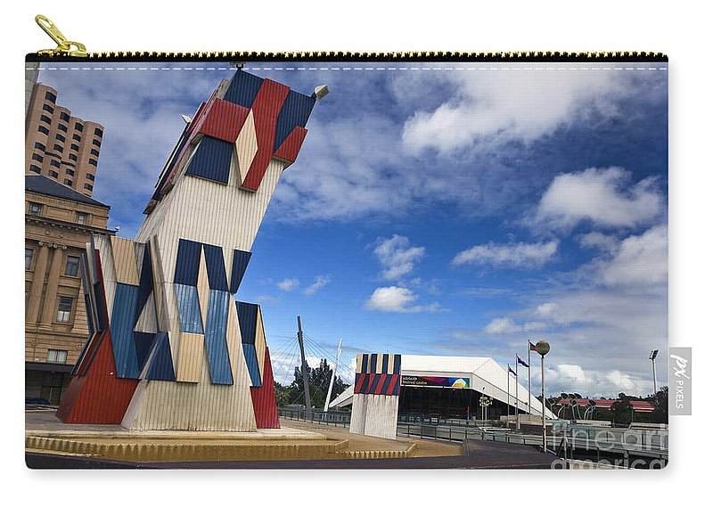 Travel Carry-all Pouch featuring the photograph Street Sculpture In Front Of The Adelaide Festival Center by Jason O Watson
