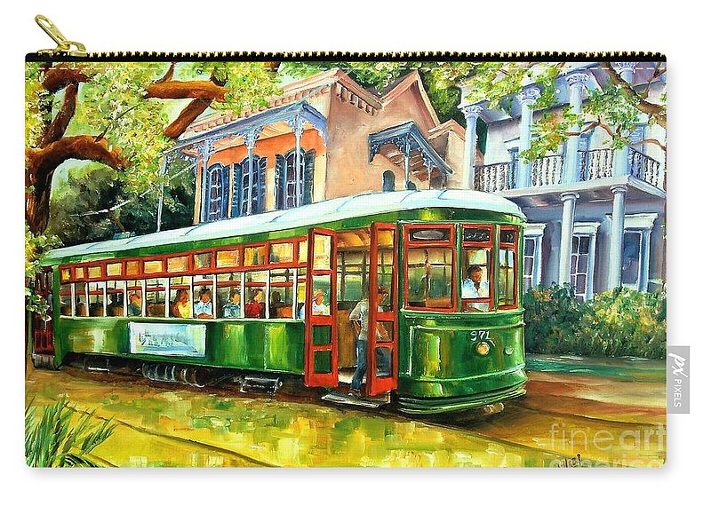 New Orleans Carry-all Pouch featuring the painting Streetcar On St.charles Avenue by Diane Millsap