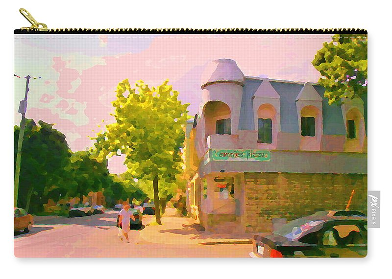 Connie's Pizza Carry-all Pouch featuring the painting Streets Of Pointe St Charles Summer Scene Connies Pizza Rue Charlevoix Et Grand Trunk Carole Spandau by Carole Spandau