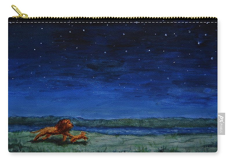 Lion Carry-all Pouch featuring the painting Strength In Their Strides And Courage In Their Hearts by Sheena Kohlmeyer