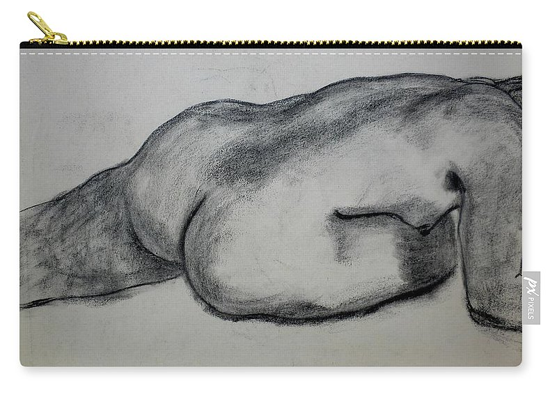 Nude Carry-all Pouch featuring the drawing Strength by Kendall Kessler