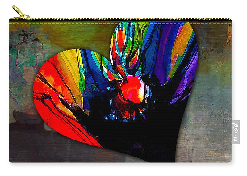 Heart Mixed Media Carry-all Pouch featuring the mixed media Strength by Marvin Blaine