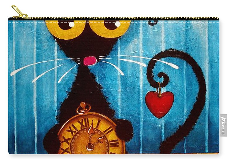 Stressie Cat Carry-all Pouch featuring the painting Stressie Cat And The Tick Tock by Lucia Stewart