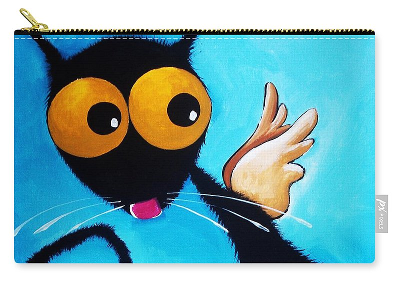 Stressie Cat Carry-all Pouch featuring the painting Stressie Cat Angel by Lucia Stewart