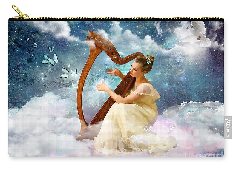 Harp Butterfly Heaven Dove Carry-all Pouch featuring the digital art Strings Of My Heart by Dolores Develde