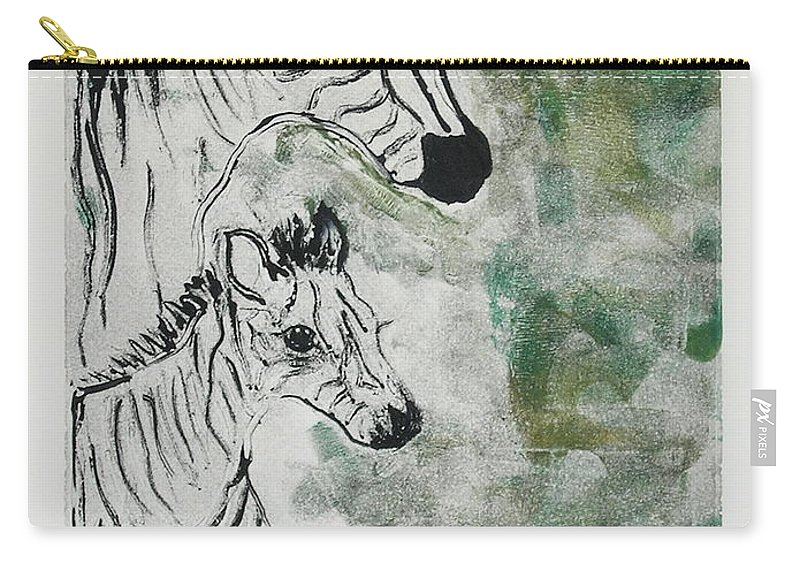 Zebras Carry-all Pouch featuring the mixed media Striped Duet by Cori Solomon