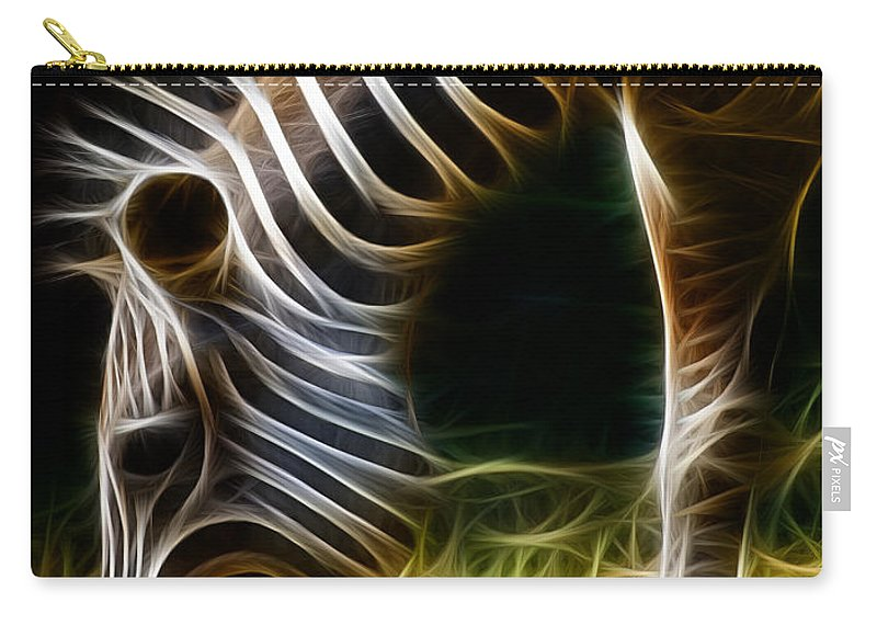 Zebra Carry-all Pouch featuring the photograph Striped Fractal by Ricky Barnard
