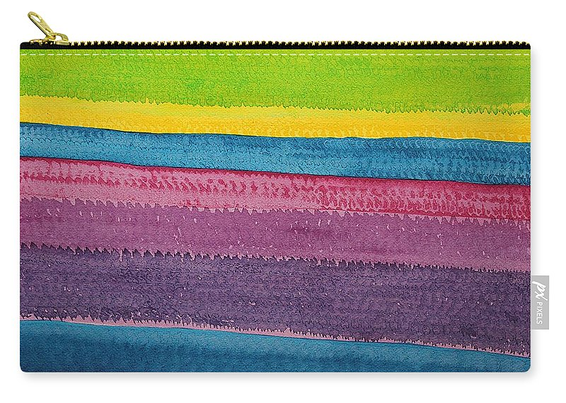 Color Carry-all Pouch featuring the painting Stripes Original Painting by Sol Luckman