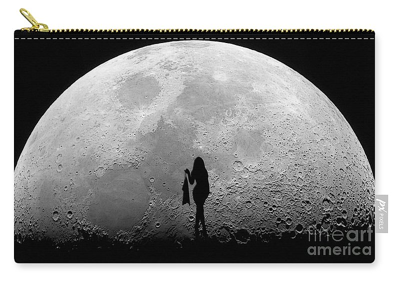 Stripper Carry-all Pouch featuring the mixed media Stripper On The Moon by Marvin Blaine