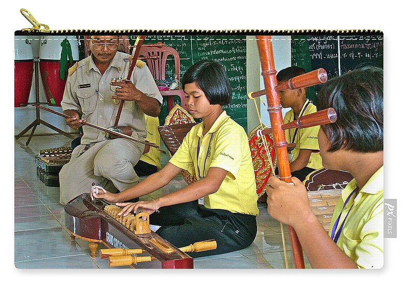 Students Playing Traditional Thai Instruments In Music Class At Baan Konn Soong School In Sukhothai Carry-all Pouch featuring the photograph Students Playing Traditional Thai Instruments In Music Class At Baan Konn Soong School In Sukhothai by Ruth Hager