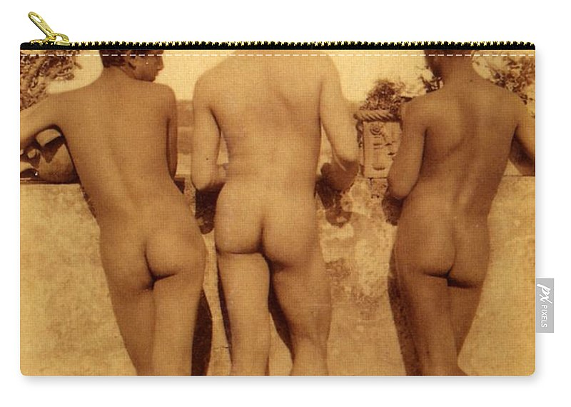 Gloeden Carry-all Pouch featuring the photograph Study Of Three Male Nudes by Wilhelm von Gloeden