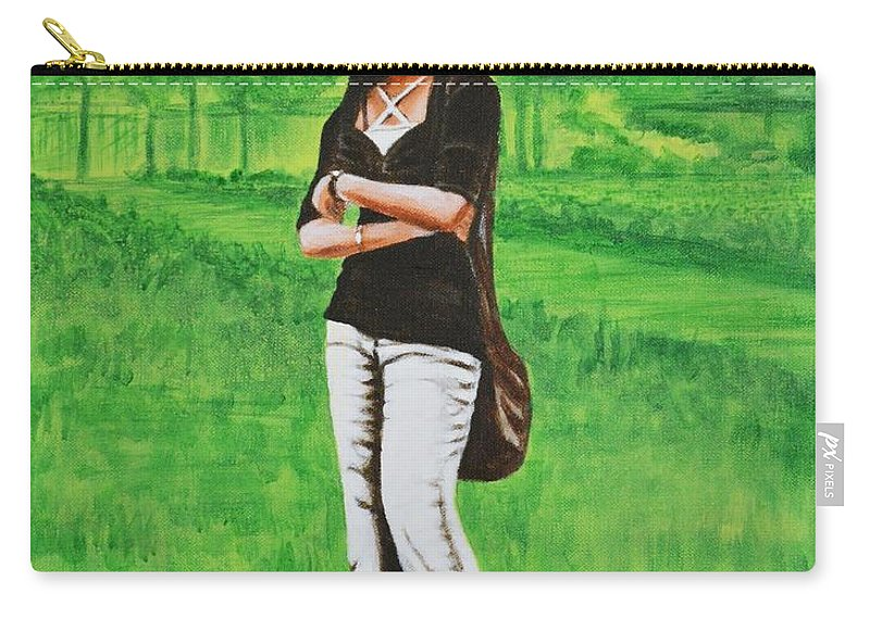 Style Carry-all Pouch featuring the painting Stylish Miss by Usha Shantharam