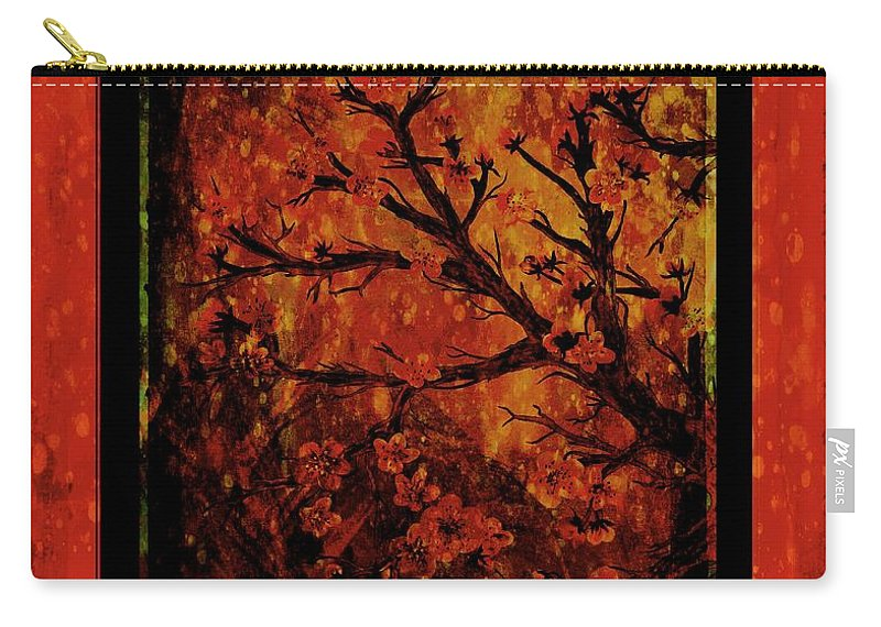 Stylized Cherry Tree With Old Textures And Border Carry-all Pouch featuring the painting Stylized Cherry Tree With Old Textures And Border by Barbara Griffin