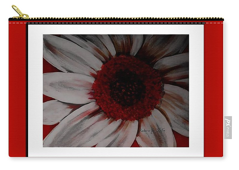 Stylized Daisy With Red Border Carry-all Pouch featuring the painting Stylized Daisy With Red Border by Barbara Griffin