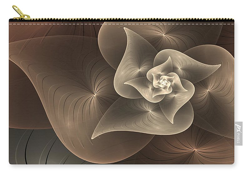 Digital Art Carry-all Pouch featuring the digital art Stylized Philodendron Sepia by Gabiw Art