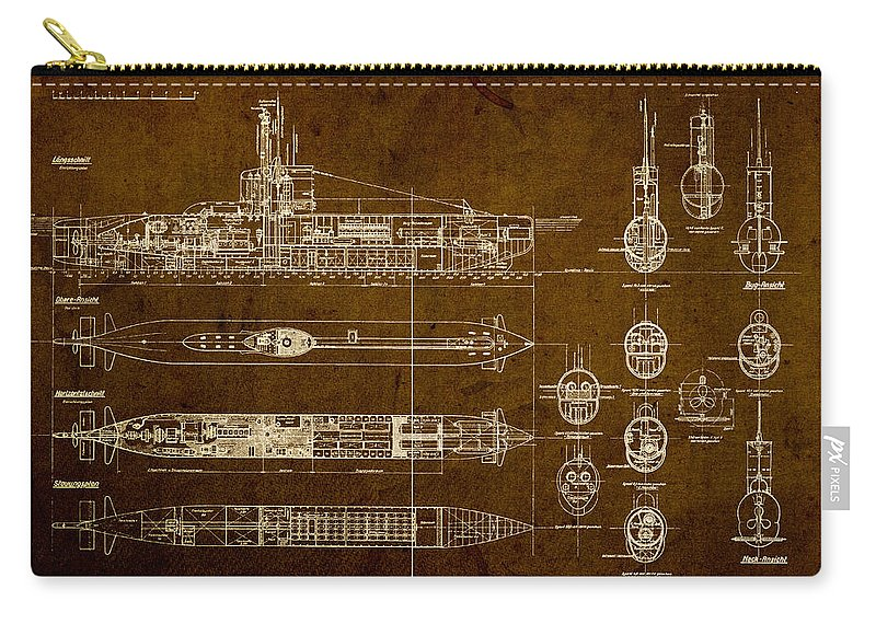 Submarine Carry-all Pouch featuring the mixed media Submarine Blueprint Vintage On Distressed Worn Parchment by Design Turnpike